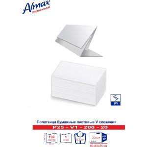 Полотенца бумажные Almax Professional V-сл. 1-сл 200 л (25 гр) белые х 20