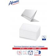 Полотенца бумажные Almax Professional V-сл. 1 сл 200 л (33 гр) белые х 20