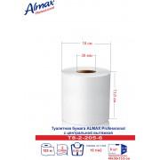 Туалетная бумага Almax Professional (с центр.выт.) белая,  2 сл.,13,6 см - 205м х6
