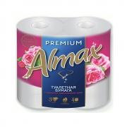 Туалетная бумага ALMAX Premium 3-сл 4 рул 16  бел. с ароматом марокканской розы